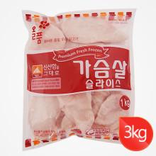 올품 IQF 가슴살슬라이스 3kg / 가슴살 / 닭가슴살 / 훈제 / 훈제가슴살