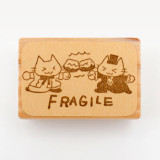 일본 직수입 100% 핸드메이드-FRAGILE 냥이 스탬프 (ねこねこ ワレモノ注意 FRAGILE)