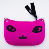 일본 직수입-고양이 얼굴 파우치(링:실버) / Fuchsia(푸크시아) (でか猫ポーチ[ピアス]/フクシア)