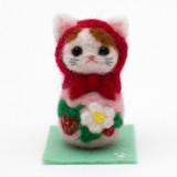 일본 직수입-고양이 마트료시카 / 딸기 (猫マトリョーシカ/アップリケ・苺)100%수제,핸드메이드