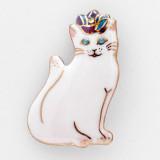 일본 직수입-장미 티아라를 쓴 하얀 고양이 칠보 패션브로치 (バラのティアラをつけた白い猫) 100%수제,핸드메이드