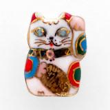 일본 직수입-행운의 마네키네꼬/W (핀 브로치) (招き猫ピンブローチ・白) 100%수제,핸드메이드