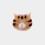 일본 직수입-고양이 얼굴 '새침떼기/호랑이무늬' (ネコ顔ピンブローチ 'おすまし/茶トラ') 100%수제,핸드메이드