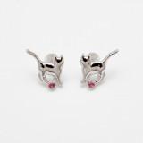 일본 직수입-고양이 실루엣 귀걸이(핑크 토르말린) (ねこシルエットピアス (ピンクトルマリン))