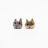 일본 직수입-팔나트폭 골든캣 얼굴 귀걸이 senza casa (センツァ カーサ)