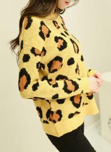 [코코베른&무료배송]KNF594-Leopard knit/호피/비비드/컬러니트/여성니트/라운드니트