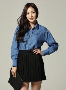 [신상무료배송]KNF604-블루 숄더포인트 셔츠 /블루셔츠/여성남방/여자셔츠/숄더셔링/빈티지/심플