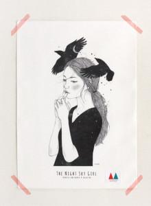 키 큰 나무 일러스트 천포스터 '밤하늘 소녀 #04'