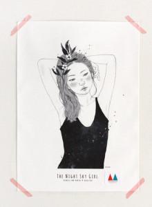 키 큰 나무 일러스트 천포스터 '밤하늘 소녀 #05'