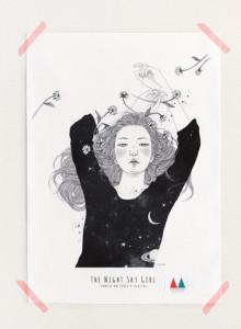 키 큰 나무 일러스트 천포스터 '밤하늘 소녀 #03'