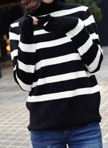 코코베른☆KF171/단가라 폴라넥니트/베이직/데일리룩/예쁜니트/겨울니트/이너/줄무늬