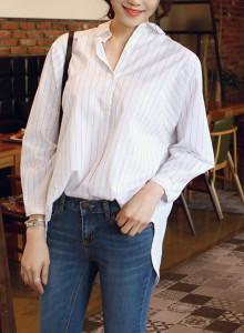 [걸스데일리]루즈스트라이프 셔츠(화이트)