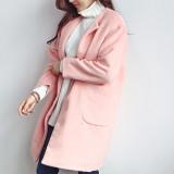 칼리아 컬러코트/노카라/심플/알파카/롱코트 cb181 (그레이,민트,핑크)