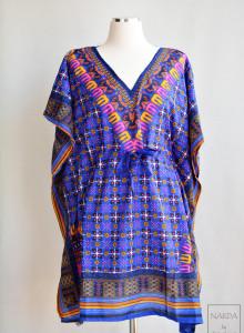 [인도의상] 블루 데칼 에스닉 원피스 카프탄 드레스 맥시드레스 맥시원피스 Free Size