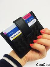 격자 무늬 슬림 카드지갑 - 블랙,브라운 2 컬러