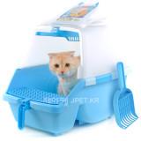 아이리스 고양이 화장실 SN-530 (블루/53x40x42cm) 청소가쉬운고양이화장실/후드형/항균탈취/이지클리닝트레이