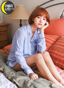 [임블리][LOVELY NIGHT]Hers잠옷세트/홈웨어/바캉스잠옷/파자마세트/카라잠옷/실내복