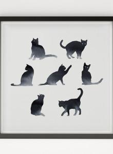 [파블로랩] 북유럽 빈티지 인테리어 그림 액자 Black Cat