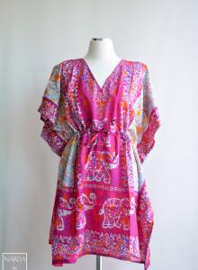 [핑크 엘리펀트 인 더 트립] 쇼트 보헤미안 셔츠 ,에스닉 원피스, 카프탄 드레스,여름셔츠, 맥시드레스 맥시원피스 Free Size 인도의상, 비치웨어