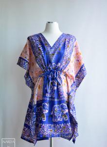 [블루 엘리펀트 인 더 트립] 쇼트 보헤미안 셔츠 ,에스닉 원피스, 카프탄 드레스,여름셔츠, 맥시드레스 맥시원피스 Free Size 인도의상, 비치웨어