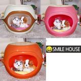 강아지/고양이집 스마일하우스 오렌지 (52 x 47 x 42cm) - 방석포함