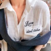 [임블리]포인트 레터링자수 셔츠/카라셔츠/코튼셔츠/화이트셔츠