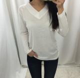 할인▶ 여자 브이넥 기본 베이직 티셔츠 - 화이트, 블랙 (반팔/긴팔)