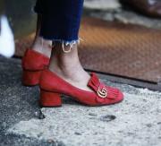 양가죽 스웨이드 펌프스 미들힐 로퍼 (6color) / red-7223 [브이샵]