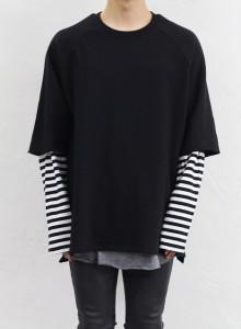 스트라이프 소매 레이어드 티셔츠 2color