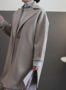 [걸스데일리]버나드 울 코트(연그레이,크림)