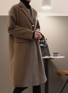 [걸스데일리]은은한 진주 코트(카키브라운,연그레이)