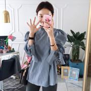[임블리]아롱아롱 리본스트라이프셔츠/차이나카라셔츠/루즈핏셔츠/스트라이프셔츠/베이직셔츠/소매리본셔츠