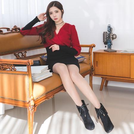 러블리옷 배색 퍼원피스