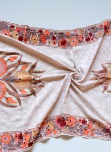 베이지 플라워 [더 자마와르 캐시미어 숄- 화이트 라인] 여성 캐시미어 머플러 - 인도 카슈미르 전통 자수 핸드메이드 라지 숄