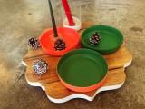 Porcelain 2 tone tray green /orange