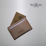 [누비레더] 화이트왁스 수제카드지갑-탄색