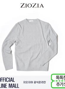 (지오지아/ZIOZIA) 톤온톤믹스 포인트 스타일 면혼방 스웨터(ABX1ER1101/라이트그레이)
