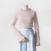 스트라이프 레이어드 셔링 티셔츠