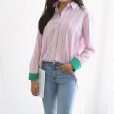 스트라이프 배색 핑크 면 셔츠 3color