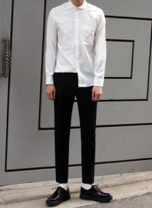 no.1077 실키 와이드카라 셔츠 2color