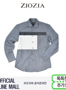 (지오지아/ZIOZIA) 데님라이크라 블러킹 포인트 캐주얼셔츠(AAX1WC1106/네이비)