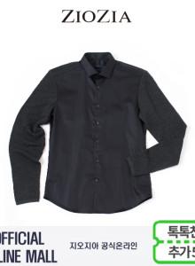 (지오지아/ZIOZIA) 블랙솔리드 니트소매 포인트 캐주얼셔츠(AAW3WC1104/블랙)