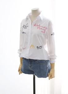 레터링 화이트 네이비 셔츠