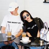 [품절]파인 레터링 커플티 남여공용 반팔 티셔츠 2color