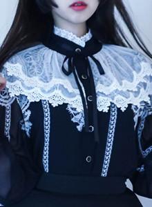 [해외직배송] 빈티지 돌 케이프 쉬폰 블라우스 중세시대 인형옷같은 레이스로 우아하게 데일리룩, 데이트룩 강추♥