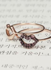 14K 퍼플 Diamond 입술 반지(민자, 큐빅옵션)