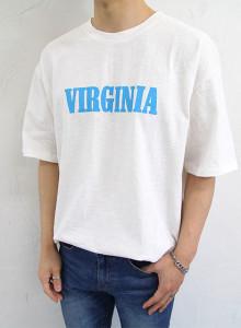 버지니아 레터링 슬라브 반팔 티셔츠 3color