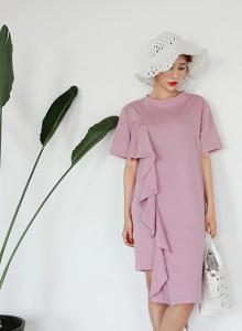 핑크 프릴 언발란스 면 원피스 LS004
