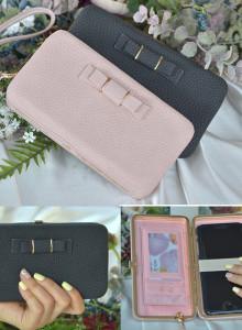 스마트폰 수납 가능한 리본케이스 핸드스트랩 클러치 장지갑 /5color