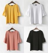 국내 제작❤ 소매 프릴 반팔 티셔츠 (4컬러)